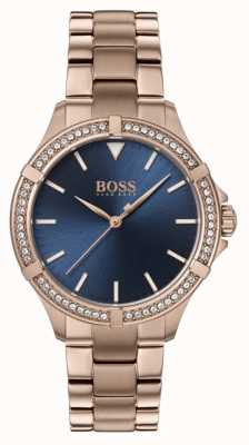BOSS | Women's Mini Sport | Rose Gold Bracelet | Blue Dial 1502468