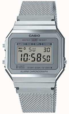 Casio | Vintage | Steel Mesh Bracelet | Stop-Watch | LED Backlight A700WEM-7AEF