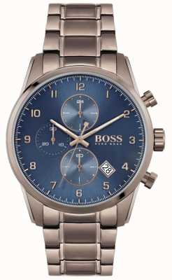 BOSS | Men's Skymaster | Brown Ion-Plated Bracelet | Blue Dial 1513788