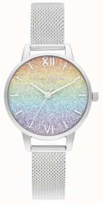 Olivia Burton Women's Silver Mesh Bracelet   Multicoloured Glitter Dial OB16GD69