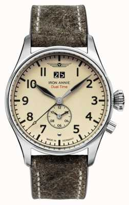Iron Annie Flight Control Quartz | Brown Leather Strap | Beige Dial 5140-5