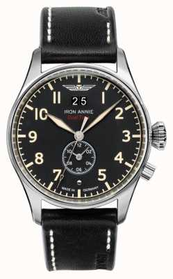 Iron Annie Flight Control Quartz | Black Leather Strap | Black Dial 5140-2