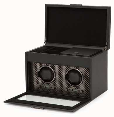 WOLF Axis Powder Coat Double Watch Winder With Storage And Travel Case 469303