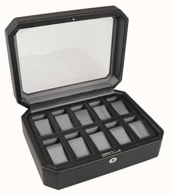 WOLF Windsor Black/Grey 10Pc Watch Box 458429