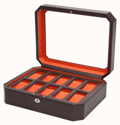 WOLF Windsor Brown/Orange 10Pc Watch Box 458406