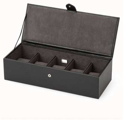 WOLF Blake Black Pebble 5 Piece Watch Box 305502