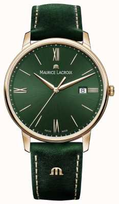 Maurice Lacroix Elrios Smoked Green Leather Strap Gold Plated Case EL1118-PVP01-610-1