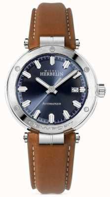 Michel Herbelin | Men's Newport | Brown Leather Strap | Blue Dial 1668/15GO