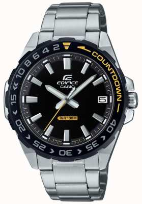 Casio Men's Edifice Black Dial Black/Yellow Bezel EFV-120DB-1AVUEF
