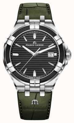 Maurice Lacroix Aikon Quartz | Green Leather Strap | Black Dial AI1008-PVB21-330-1