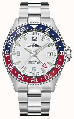 Delma Quartz GMT | Two-Tone Bezel | Stainless Steel Bracelet | 41701.648.6.P014