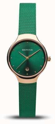 Bering Women's Classic | Green Mesh Strap | Polished Rose Gold 13326-868