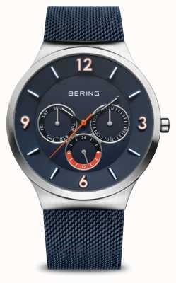 Bering Men's Classic | Brushed Silver | Blue Mesh Strap | Blue Dial 33441-307