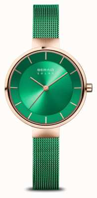 Bering Women's Charity | Polished/Brushed Rose Gold | Green Mesh 14631-CHARITY