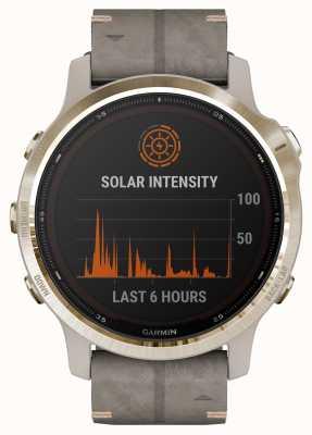 Garmin Fenix 6S Pro Solar   Light Gold Shale Grey Suede Strap 010-02409-26
