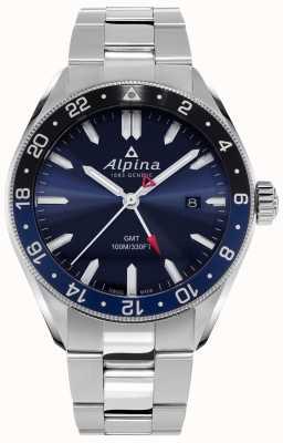 Alpina Alpiner Quartz GMT   Blue Dial   Stainless Steel Bracelet AL-247NB4E6B