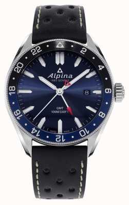 Alpina Alpiner Quartz GMT   Blue Dial   Black Leather Strap AL-247NB4E6