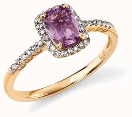 Elements Gold 9ct Yellow Gold Diamond And Amethyst Cushion Ring Size EU 54 (UK N) GR281M 54