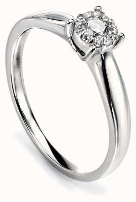 Elements Gold 9ct White Gold Diamond Cluster Ring GR425