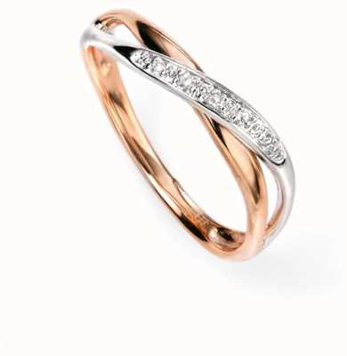 Elements Gold 9ct White And Rose-Gold Diamond Twist Ring GR447