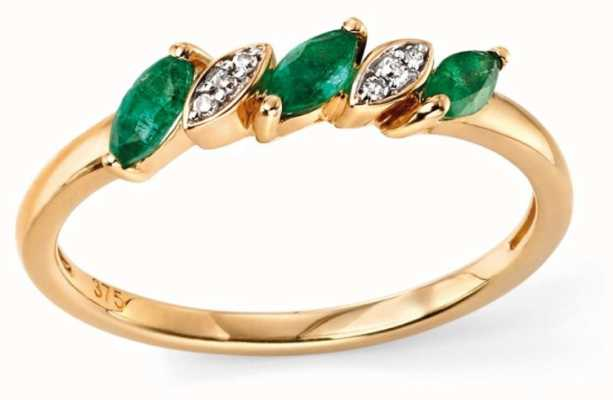 Elements Gold 9ct Yellow Gold Emerald And Diamond Ring Size EU 52 (UK L 1/2) GR501G 52