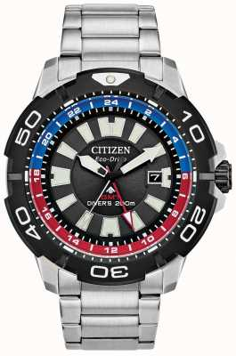 Citizen Men's Promaster Diver GMT | Stainless Steel Black Dial | Blue & Red Accent BJ7128-59E