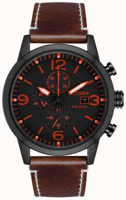 Citizen Men's Sport Eco-drive Black IP Brown Leather Strap Watch CA0617-11E