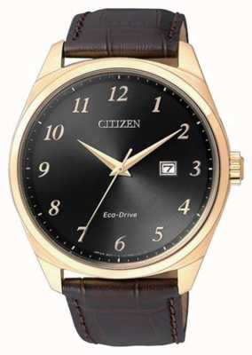 Citizen Men's Eco Drive Gold IP Brown Leather Strap Watch BM7323-11E