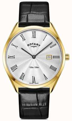 Rotary Men's Ultra Slim | Gold PVD Plated Case | Black Leather Strap GS08013/01