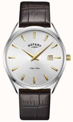 Rotary Men's Ultra Slim | Dark Brown Leather Strap | Silver Dial GS08010/02