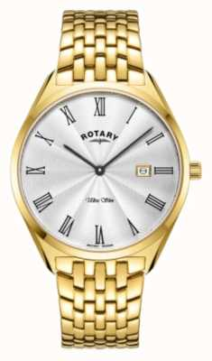 Rotary Mens' Ultra Slim | Gold Plated Steel Bracelet | Silver Dial GB08013/01