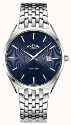 Rotary Ultra Slim Silver Blue Dial Watch GB08010/05