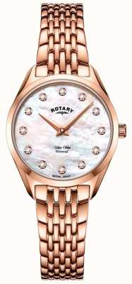Rotary Ultra Slim Ladies Rose Gold Bracelet Watch LB08014/41/D