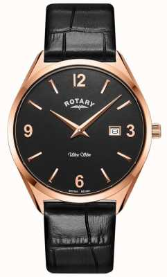 Rotary Men's Ultra Slim | Black Leather Strap | Rose Gold PVD Case GS08014/04