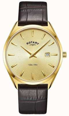 Rotary Men's Ultra Slim | Brown Leather Strap | Gold PVD Plated Case GS08013/03