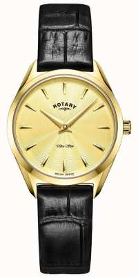 Rotary Ultra Slim Ladies Gold Leather Watch LS08013/03
