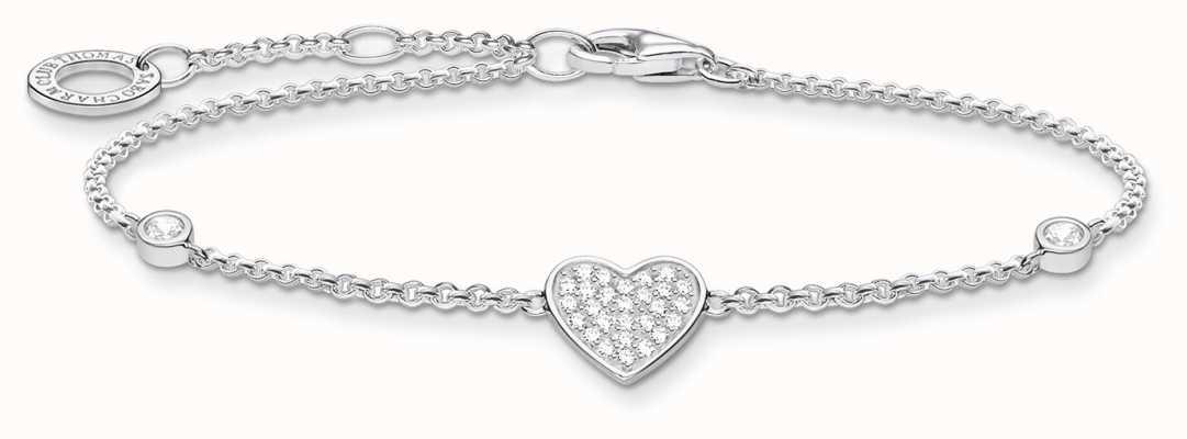 Thomas Sabo Silver Stone Heart Bracelet   925Sterling Silver   16-19cm A1992-051-14-L19V