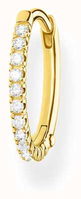 Thomas Sabo 18k Yellow Gold Single Hoop Earring | Silver Stones 15mm CR657-414-14