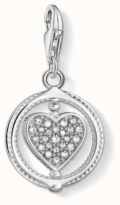 Thomas Sabo Charming   Sterling Silver Heart Charm Pendant   White Stones 1858-051-14