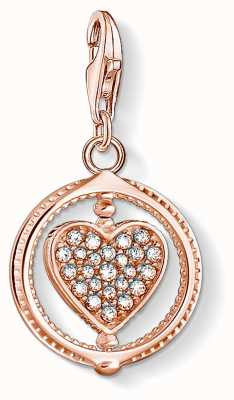 Thomas Sabo Charming   18k Rose Gold Plated Heart Charm Pendant   Silver Stones 1859-416-14