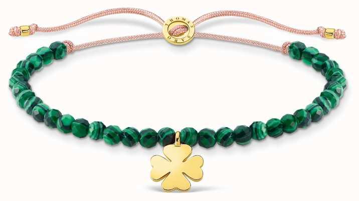 Thomas Sabo Charming | Gold Cloverleaf Malachite Beaded Tie Bracelet A1983-140-6-L20V