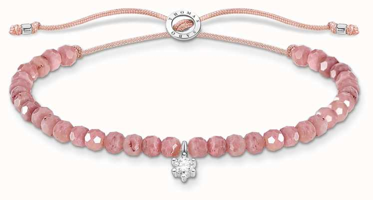Thomas Sabo Charming   Silver Stone Rose Quartz Beaded Tie Bracelet A1987-401-9-L20V