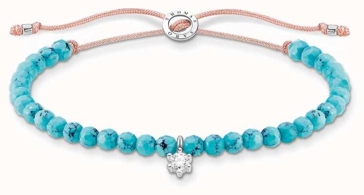 Thomas Sabo Charming   Silver Stone Turquoise Beaded Tie Bracelet A1987-905-17-L20V