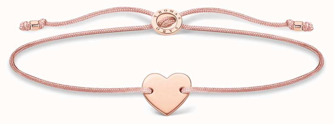 Thomas Sabo Pink Nylon Rose Gold Plated Heart Bracelet A1996-597-19-L20V