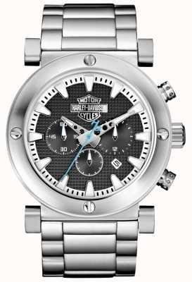 Harley Davidson Men's Chronograph | Stainless Steel Bracelet | Black Dial 76B166
