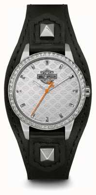 Harley Davidson Women's Shaped Cuff | Black Leather Strap | Silver Dial 76L183