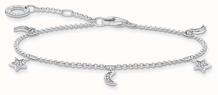 Thomas Sabo Charming   Star & Moon Sterling Silver Bracelet   16-19cm A1994-051-14-L19V