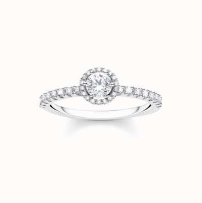 Thomas Sabo Sterling Silver White Stone Ring Size UK O 1/2 - P TR2326-051-14-56