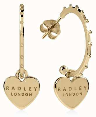Radley Jewellery Sterling Silver 18ct Gold Plated Heart Huggie Earrings RYJ1132