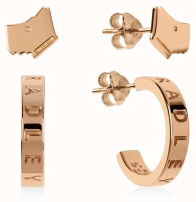 Radley Jewellery Sterling Silver 18ct Rose Gold Dog&Hoop Earring Set RYJ1144
